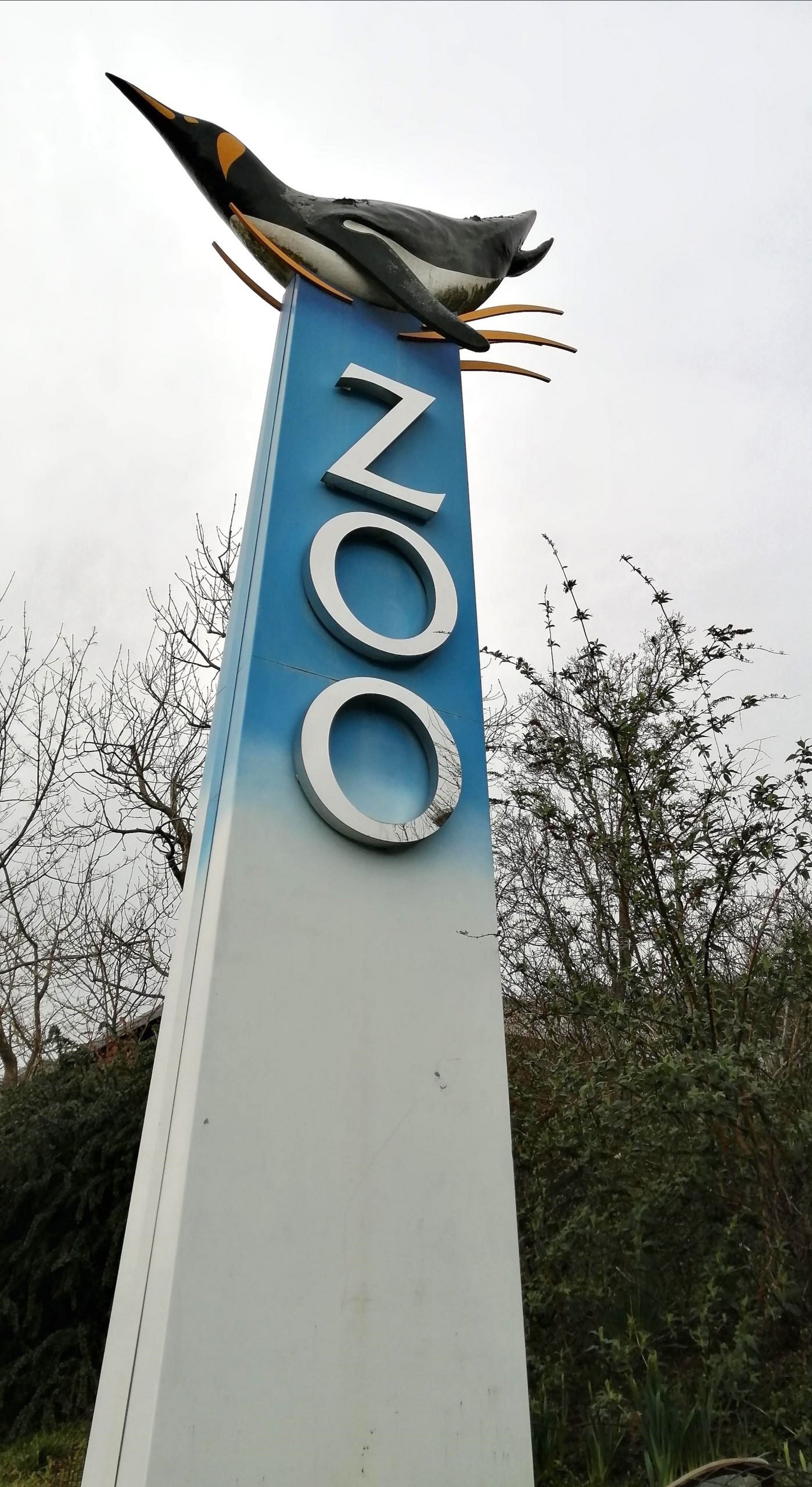 Edinburgh Zoo Sign with Penguin